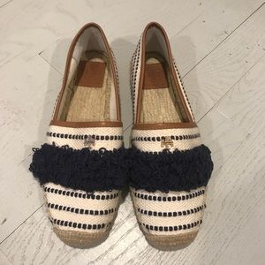 Tory Burch Shoes - Tory Burch new canvas navy cream frayed espadrille